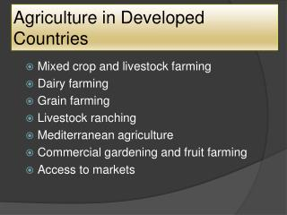 Agriculture in Developed Countries