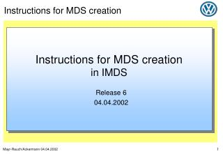 Instructions for MDS creation in IMDS