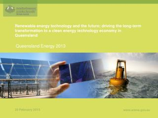 Renewable energy technology and the future; driving the long-term transformation to a clean energy technology economy i