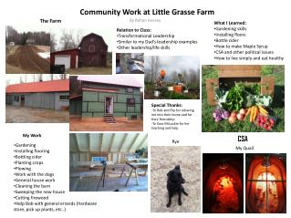 Community Work at Little Grasse Farm