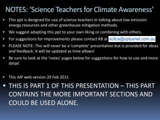 NOTES: 'Science Teachers for Climate Awareness'