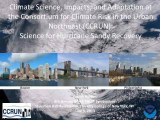 Climate Science, Impacts, and Adaptation at the Consortium for Climate Risk in the Urban Northeast (CCRUN ): Science fo