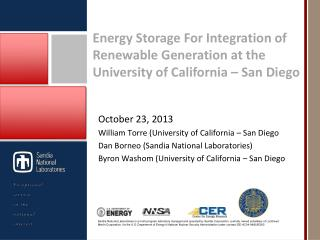 Energy  Storage For Integration of Renewable Generation at the University of California – San Diego