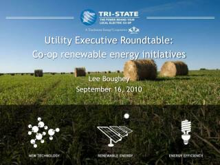 Utility Executive Roundtable: Co-op renewable energy initiatives Lee Boughey September 16, 2010