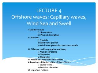 LECTURE  4 Offshore waves: Capillary waves, Wind Sea and Swell