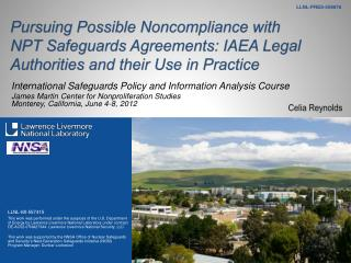 Pursuing Possible Noncompliance with NPT Safeguards Agreements: IAEA Legal Authorities and their Use in Practice