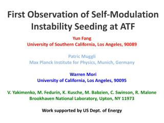 First  Observation  of Self-Modulation Instability  Seeding at ATF