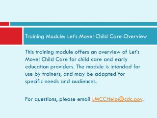 Training Module: Let's Move! Child Care Overview