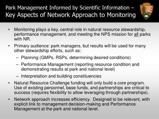Park Management Informed by Scientific Information – Key Aspects of Network Approach to Monitoring