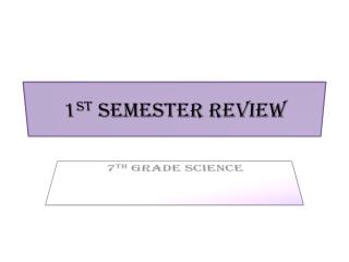 1 st  Semester Review