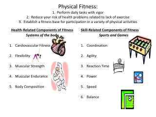 Health-Related Components of Fitness Systems of the body Cardiovascular Fitness Flexibility Muscular Strength Muscular E