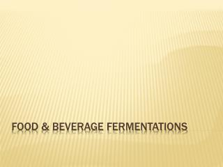 FOOD & BEVERAGE FERMENTATIONS