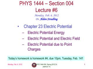 PHYS 1444 – Section 004 Lecture #6