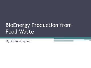 BioEnergy Production from  Food Waste