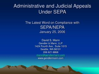 administrative and judicial appeals under sepa  the latest word on compliance with  sepa
