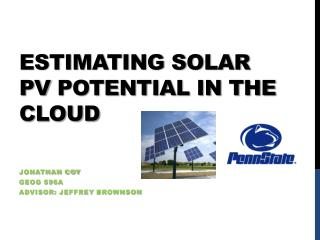 Estimating solar  pv  potential in the cloud