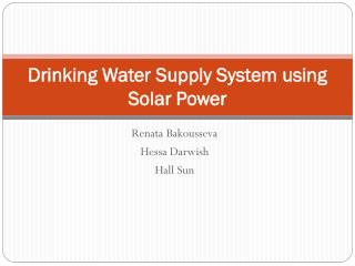 Drinking Water Supply System using Solar Power