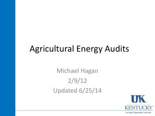 Agricultural Energy Audits