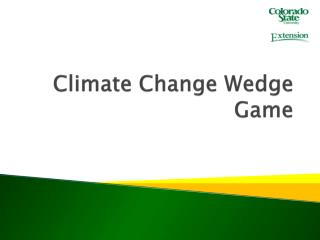 Climate Change Wedge Game