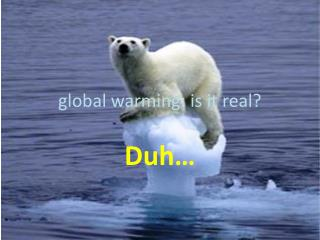g lobal warming: is it real?