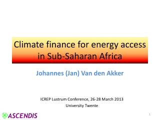 Climate finance for energy access in Sub-Saharan Africa