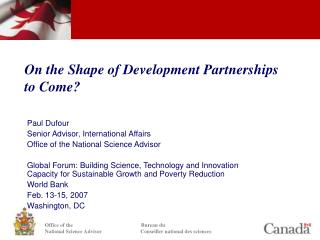 On the Shape of Development Partnerships to Come?
