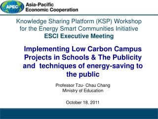 Knowledge Sharing Platform (KSP) Workshop  for the Energy Smart Communities Initiative ESCI Executive Meeting