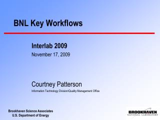 BNL Key Workflows