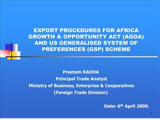 export procedures for africa growth  opportunity act agoa and us generalised system of preferences gsp scheme