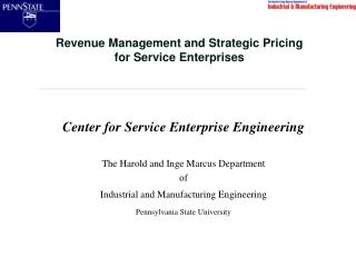 Revenue Management and Strategic Pricing  for Service Enterprises