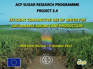 ACP SUGAR RESEARCH PROGRAMME PROJECT 2.4 E FFICIENT CONJUNCTIVE USE OF WATER FOR SUSTAINABLE SUGAR CANE  PRODUCTION