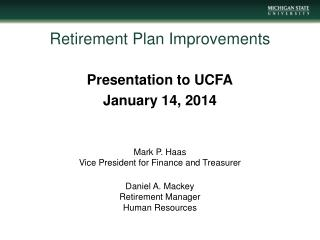 Retirement Plan  Improvements