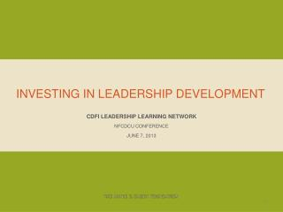Investing in leadership development