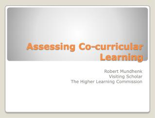 Assessing Co-curricular Learning