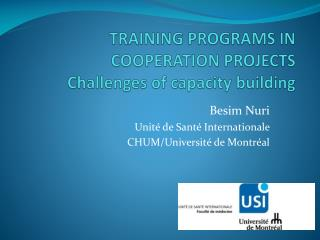 TRAINING PROGRAMS IN COOPERATION PROJECTS  Challenges of  capacity  building