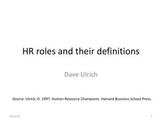 HR roles and their definitions