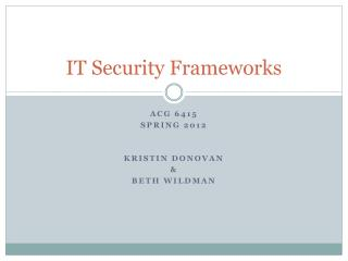 IT Security Frameworks