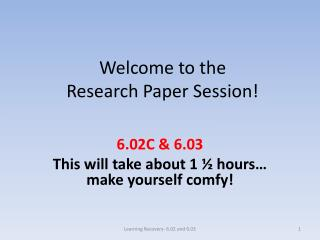 Welcome to the  Research Paper Session!