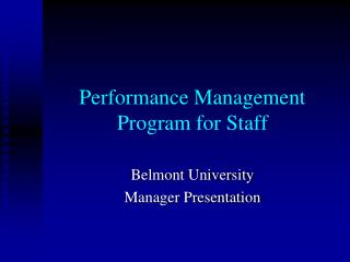 Performance Management Program for Staff