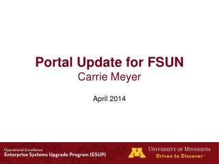 Portal Update for FSUN Carrie Meyer