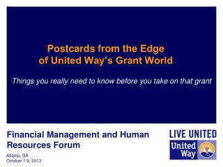 Postcards from the Edge  of United Way's Grant World
