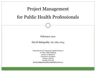 Project Management for Public Health Professionals