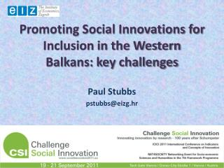 Promoting Social Innovations for Inclusion in the Western Balkans: key challenges