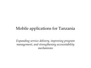 Mobile applications for Tanzania