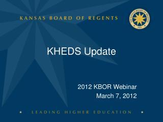 KHEDS Update