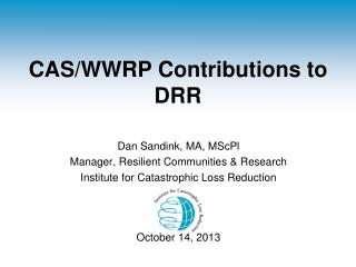 CAS/WWRP Contributions to DRR