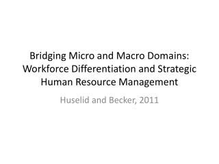 Bridging Micro and Macro Domains: Workforce Differentiation and Strategic Human Resource Management