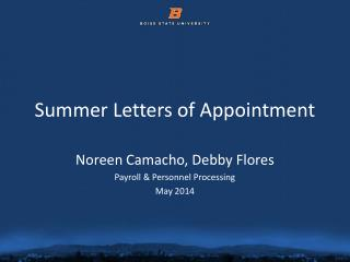 Summer Letters of Appointment