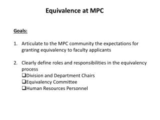 Equivalence at MPC