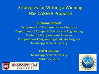 Strategies for Writing a Winning NSF CAREER Proposal